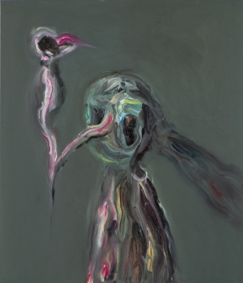 Meitene ar putnu • Girl with Bird, 2013, Oil on canvas, 140 x 120cm