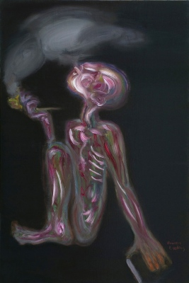 Pīpētājs • The Smoker, 2008, Oil on canvas, 120 x 80 cm