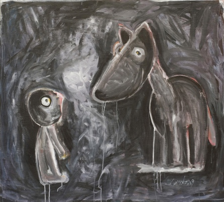 Satikšanās mežā • Encounter in the Forest, 2008, Oil on canvas, 120 x 140 cm