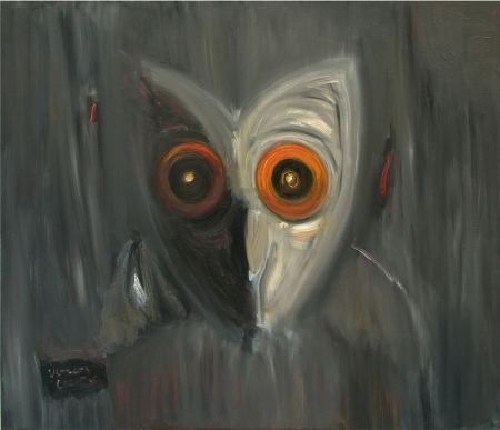 Pūce • The Owl, 2008, Oil on canvas, 120 x 140 cm