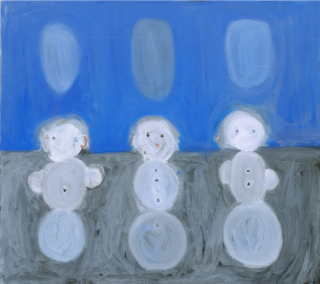 Sniegavīri • Snowmen, 2008, Oil on canvas, 120 x 140 cm