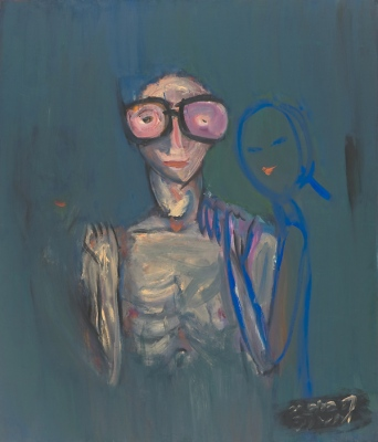 Briļļainais • Bespectacled, 2009, Oil on canvas, 140 x 120 cm